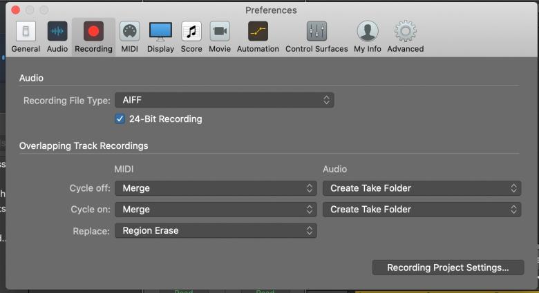 Set Recording Path in Logic Pro Preferences